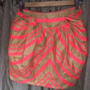 Delpozc NEW Spain neon pink khaki zebra skirt 34 4